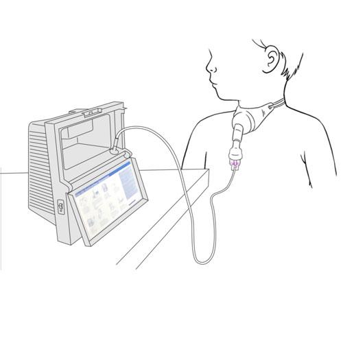 588.enfant avec coffret tracheal relie a nebuliseur a compresseur